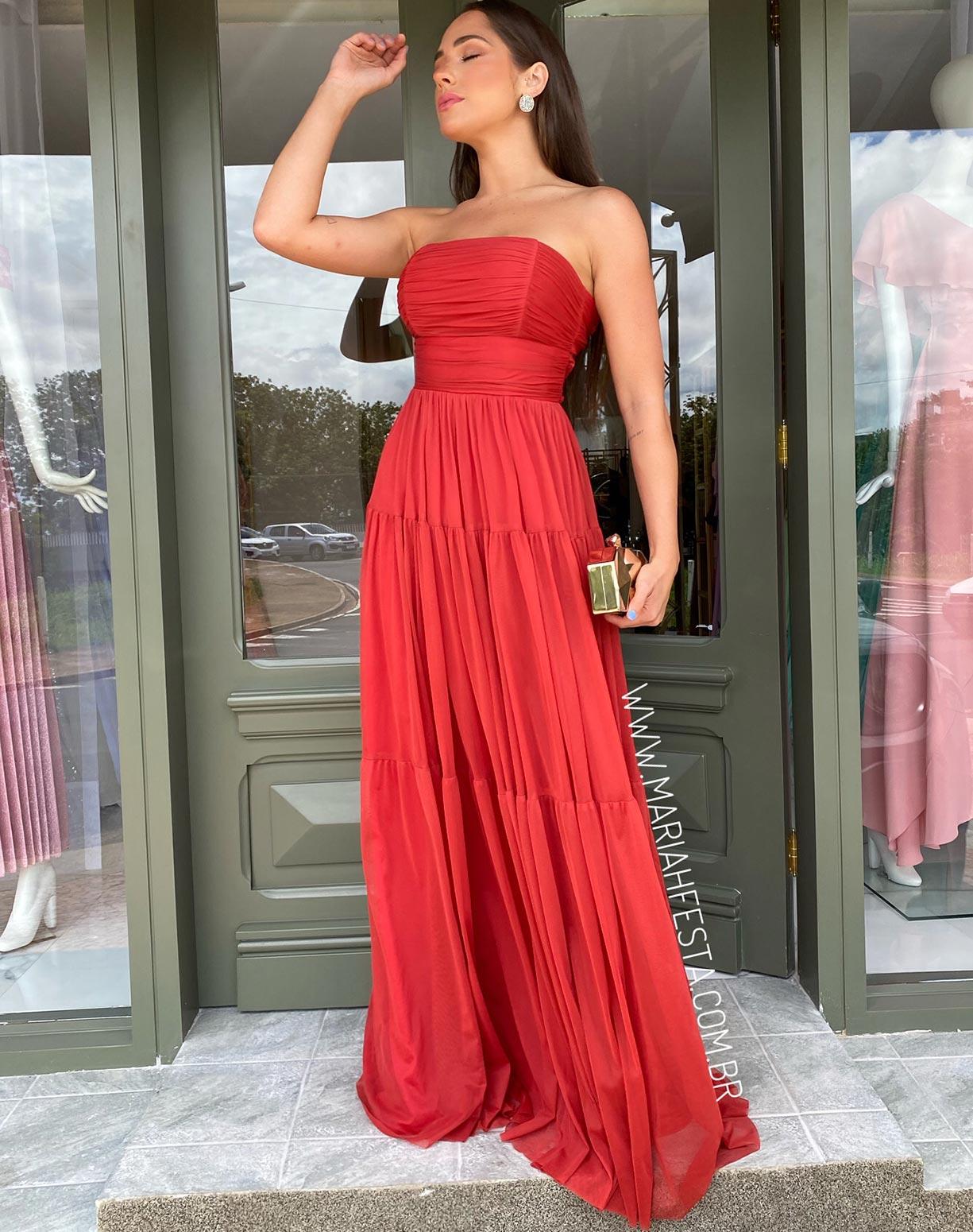 Vestido  Terracota (avermelhado) Tomara que Caia em Tule