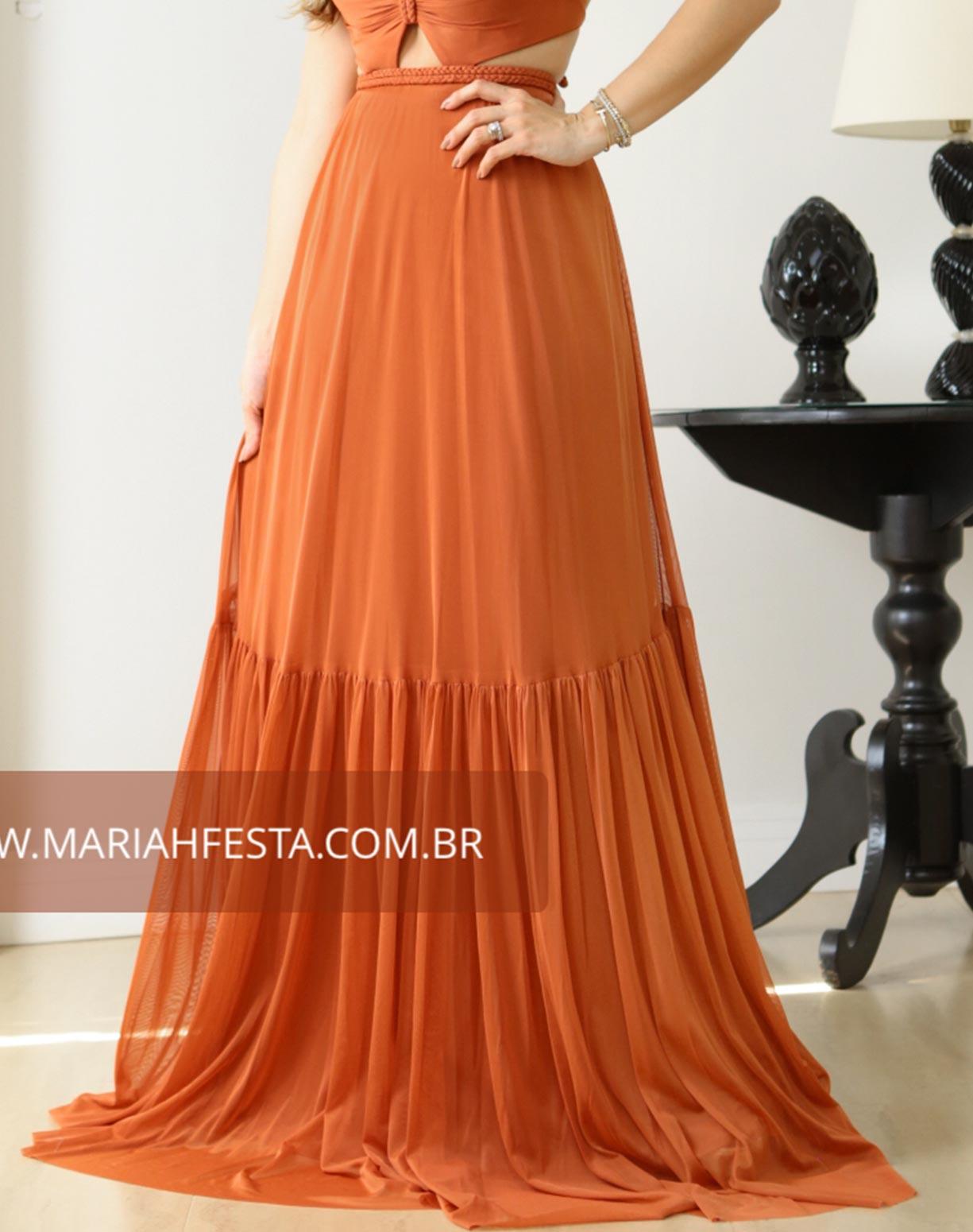 Vestido Terracota em Tule com Detalhes em Macramê
