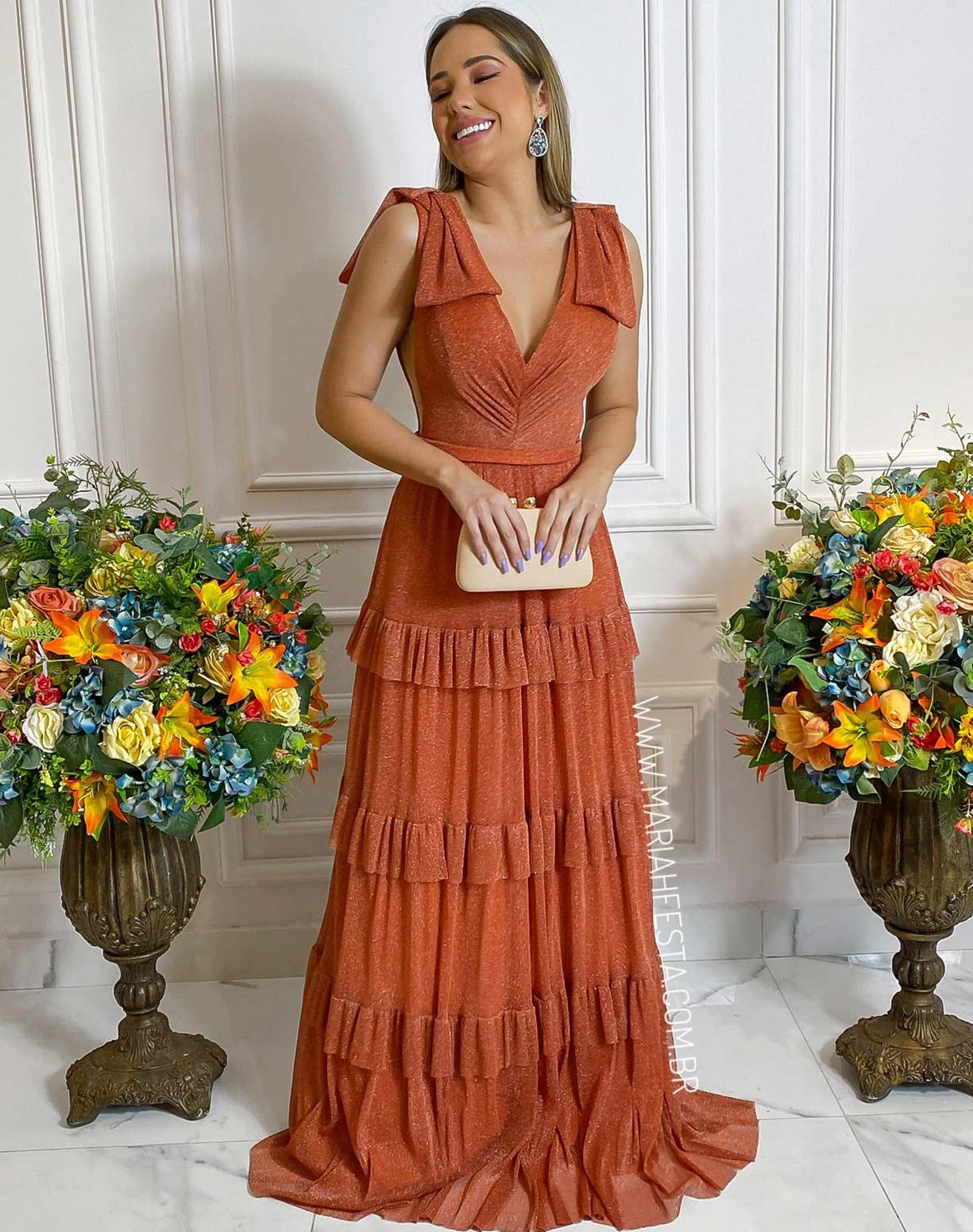 Vestido Terracota em Tule de Lúrex