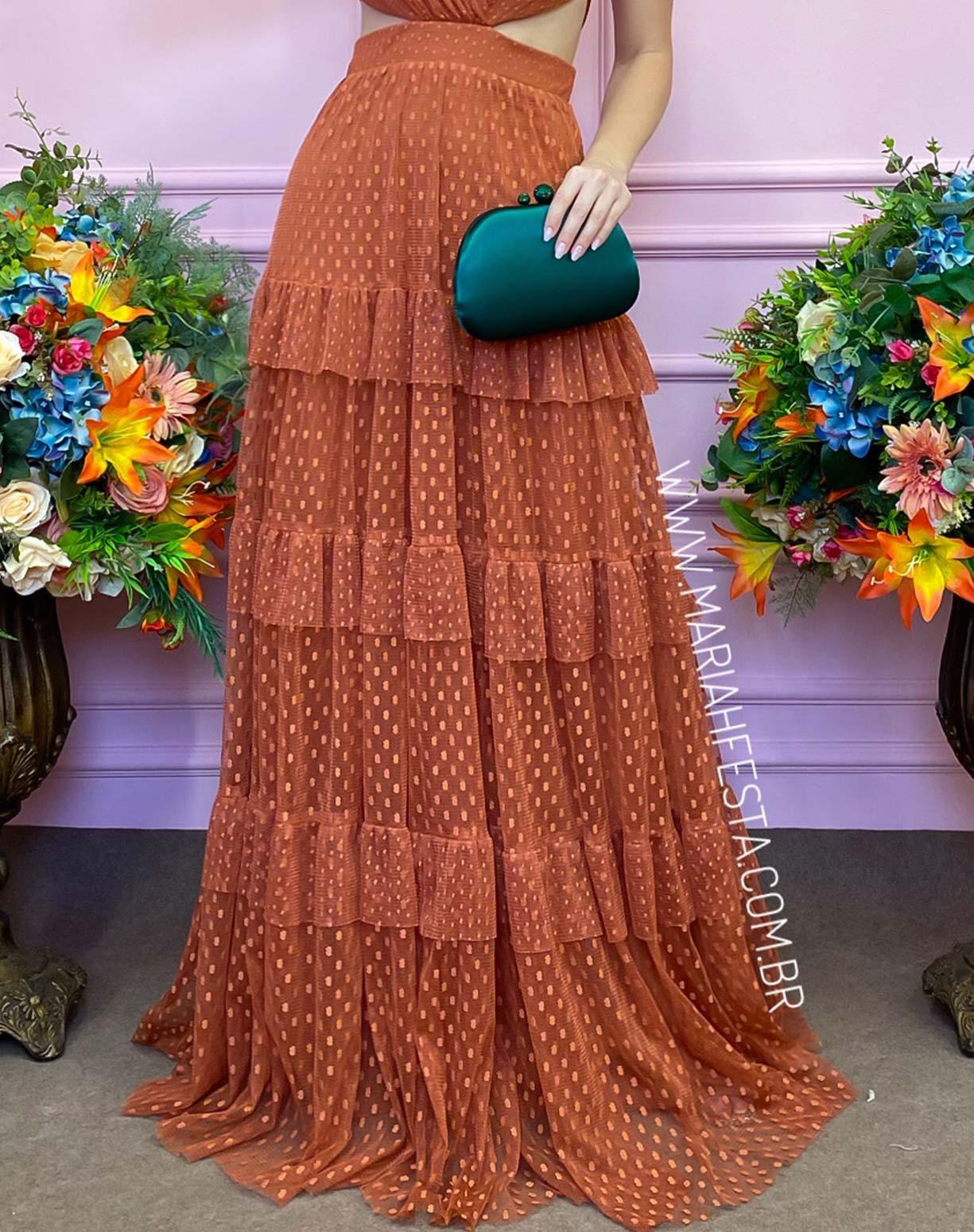 Vestido Terracota em Tule Texturizado