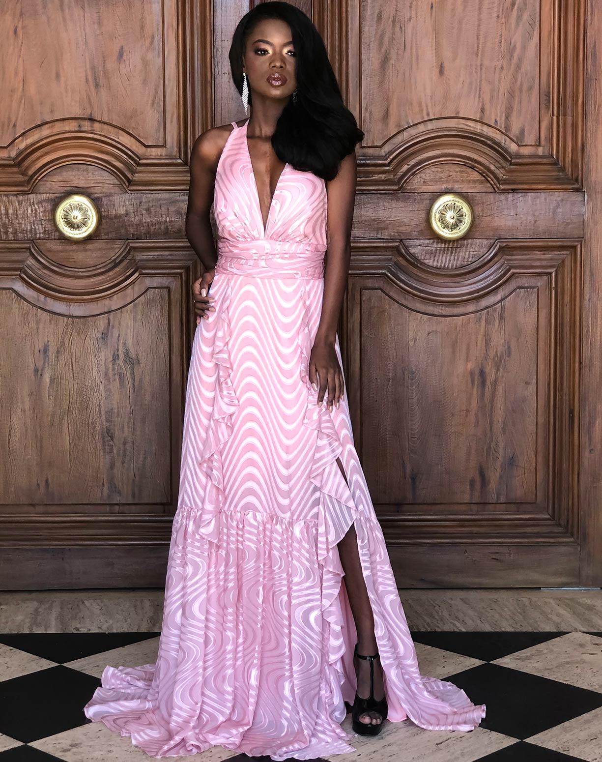 Vestido Rose Texturizado Com Babados