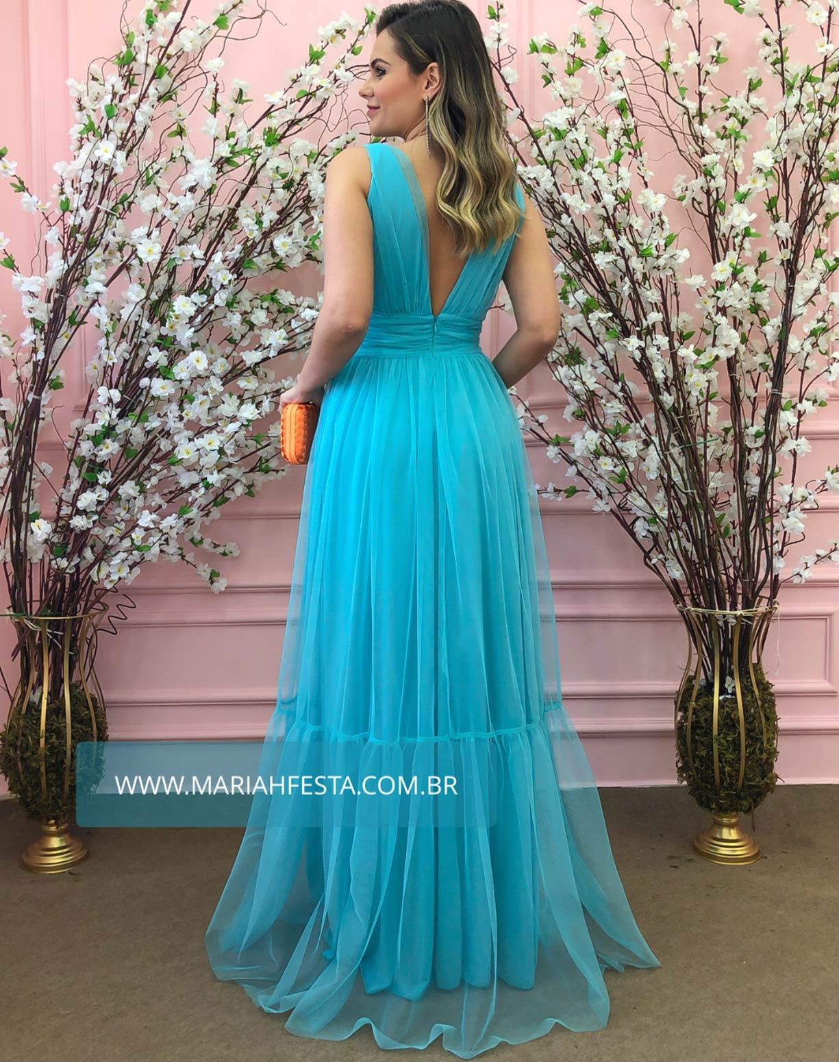 Vestido Tiffany em Tule de Saia Evasê com Fenda