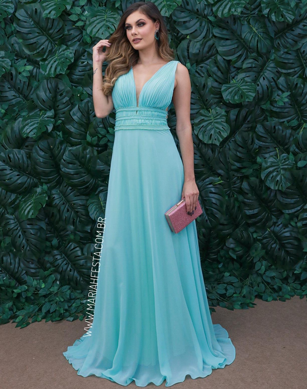 Vestido Tiffany com Bordados em Pérolas
