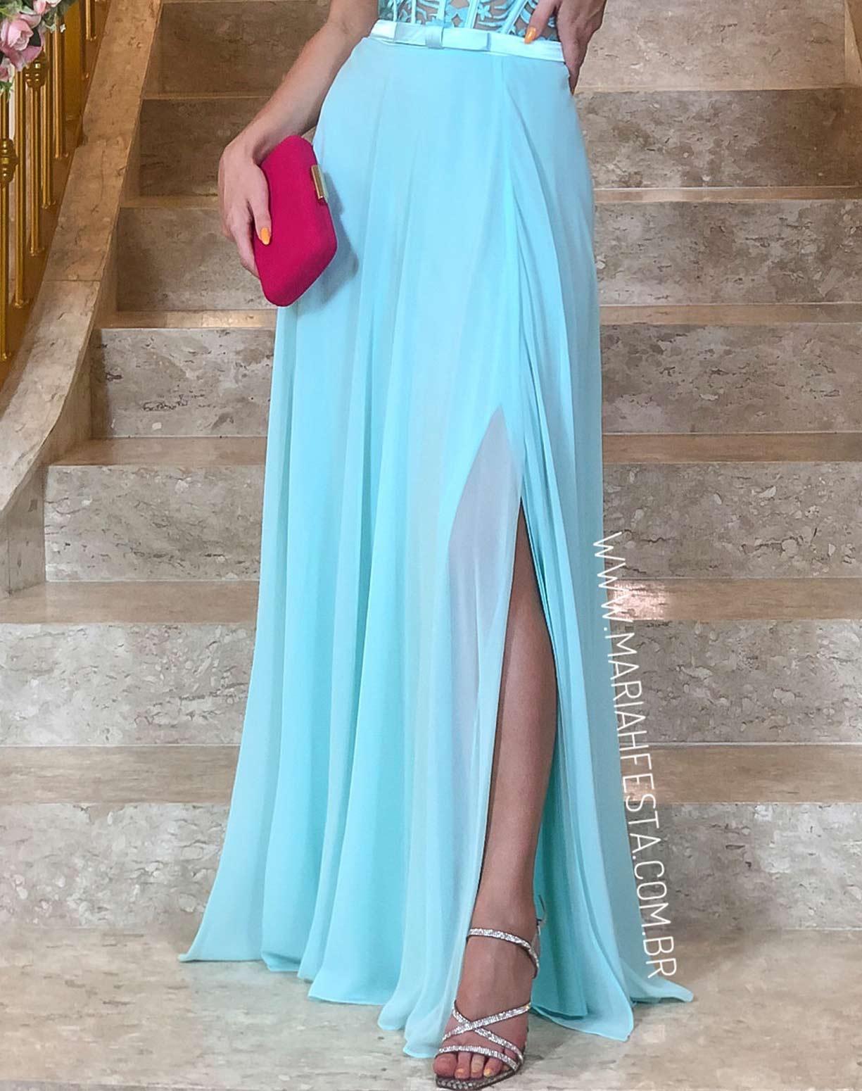 Vestido Tiffany com Corpete em Renda