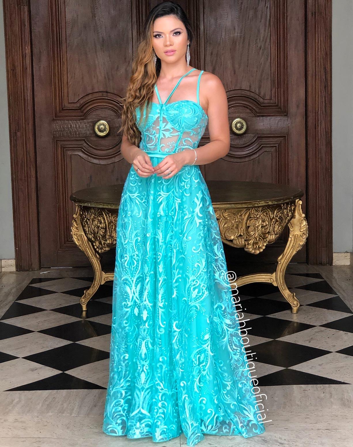 Vestido Tiffany com Corpete em Tule Bordado