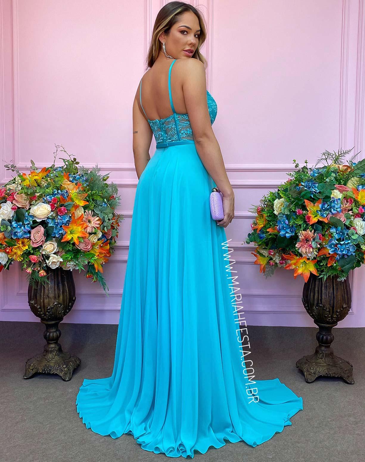 Vestido Tiffany com Corpo em Renda e Saia Evasê