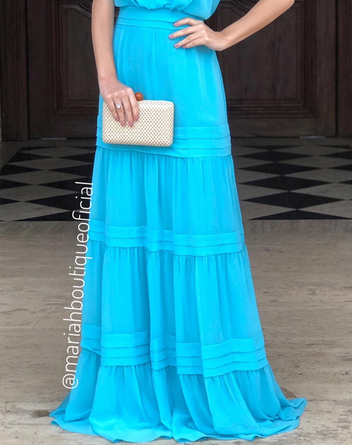 Vestido Tiffany com Decote e Saia em Camadas