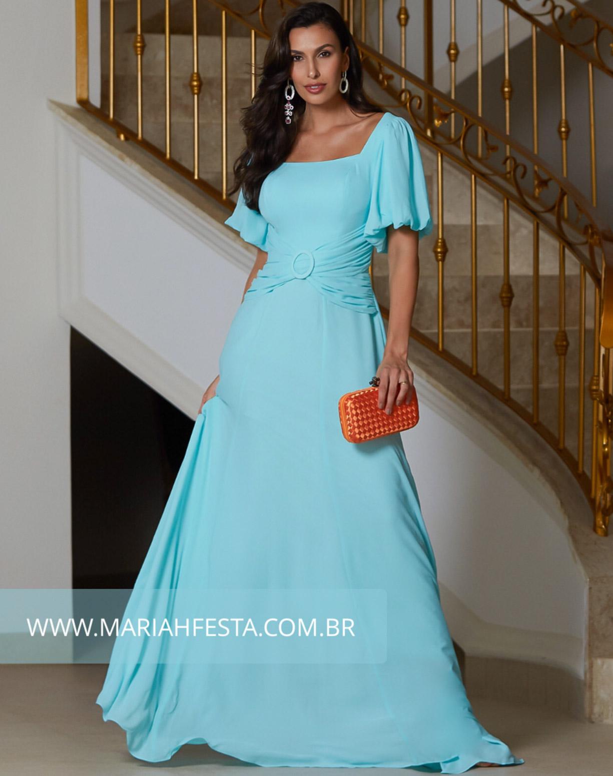 Vestido Tiffany com Manga Bufante e Cinto Drapeado