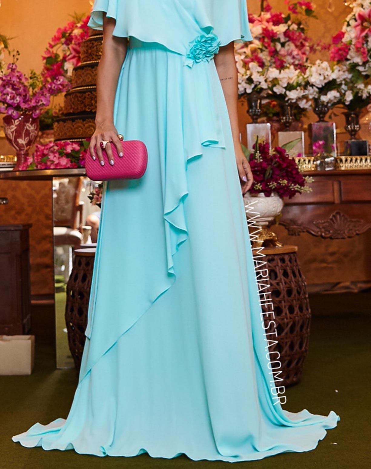 Vestido Tiffany com Manga Curta e Flores 3D