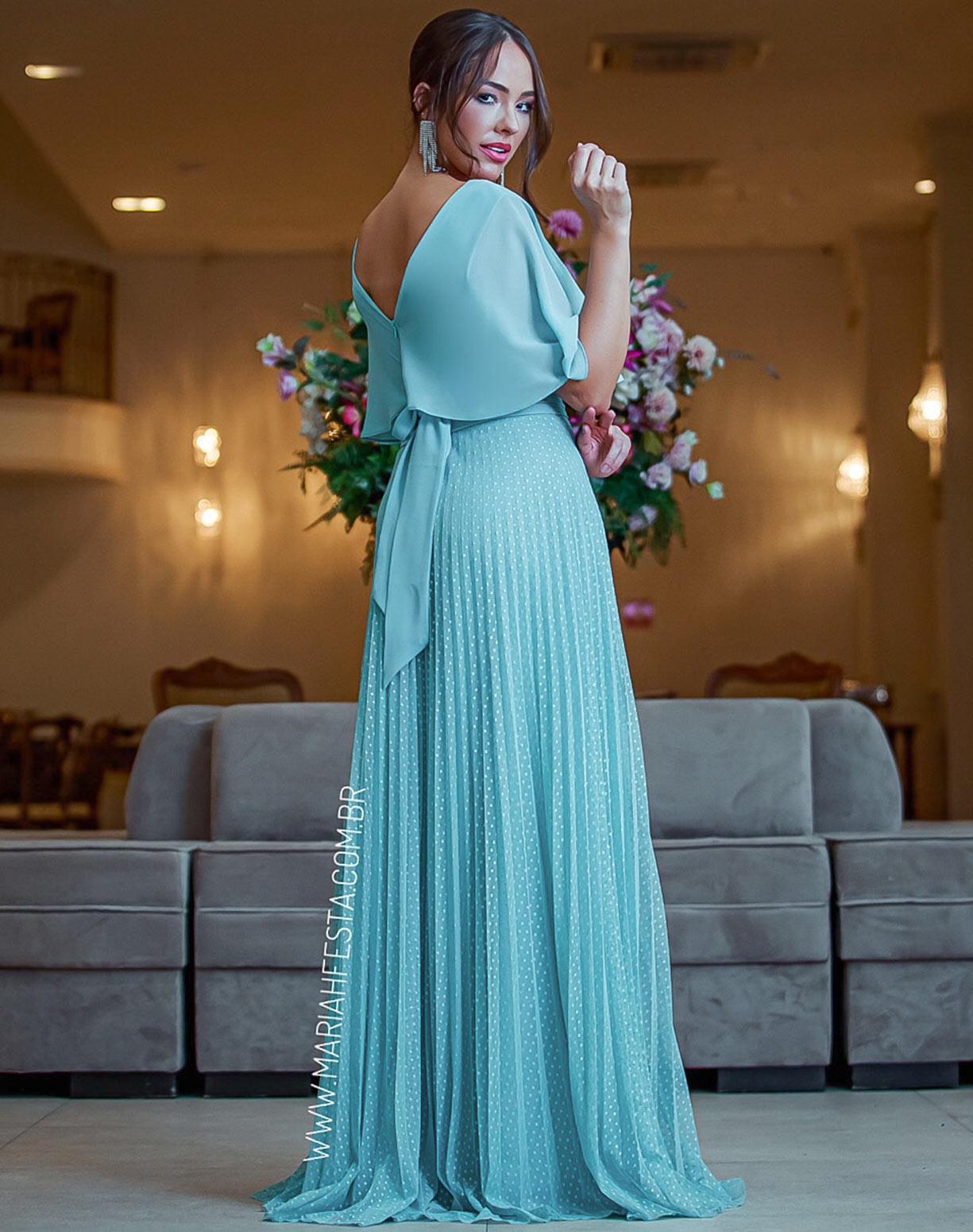 Vestido Tiffany com Saia em Tule Texturizado