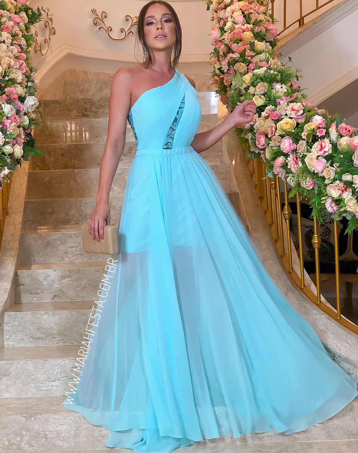 Vestido Tiffany de um Ombro Só