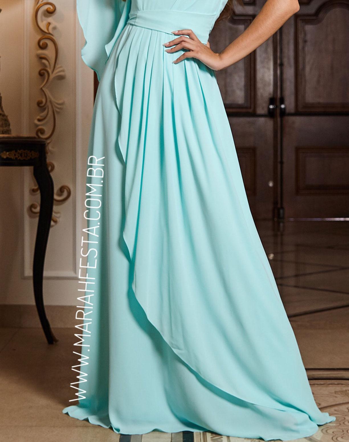 Vestido Tiffany de um Ombro só Com Drapeado na Saia