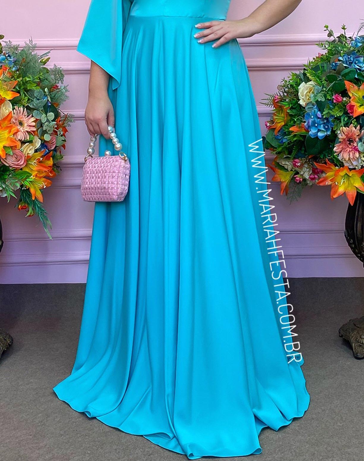 Vestido Tiffany de um Ombro Só em Crepe Acetinado