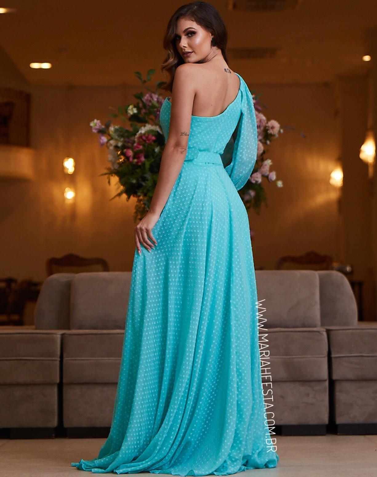 Vestido Tiffany de um Ombro Só Texturizado