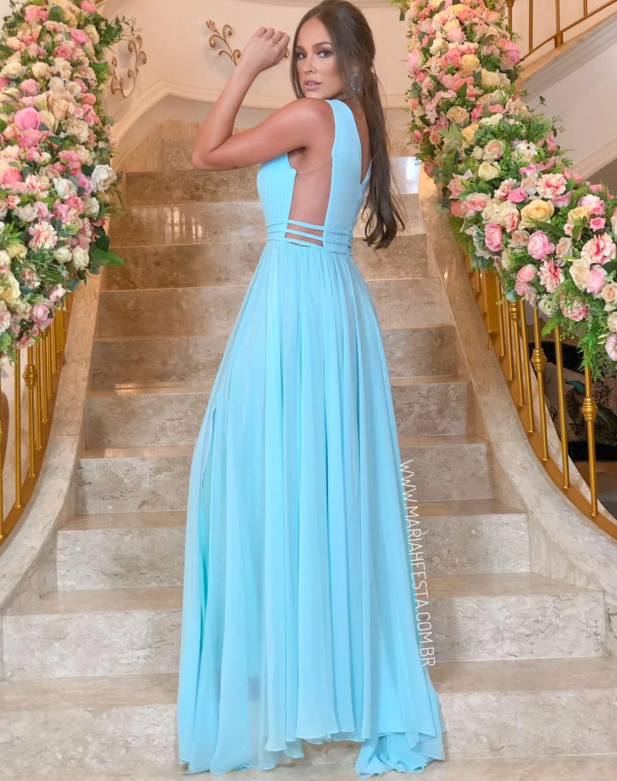 Vestido Tiffany em Musseline com Detalhes em Macramê
