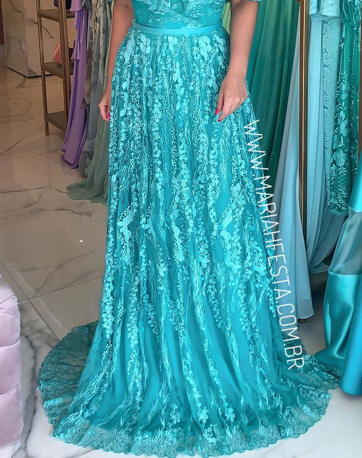 Vestido Tiffany em Renda com Saia Evasê