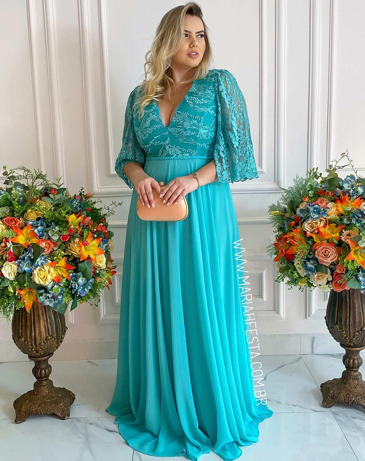 Vestido Tiffany em Renda e Crepe de Seda