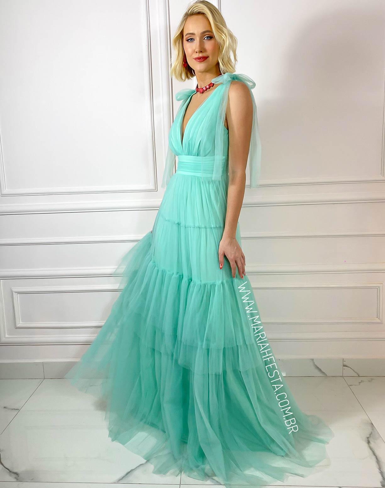 Vestido Tiffany em Tule com Alça de Amarrar e Saia com Babados