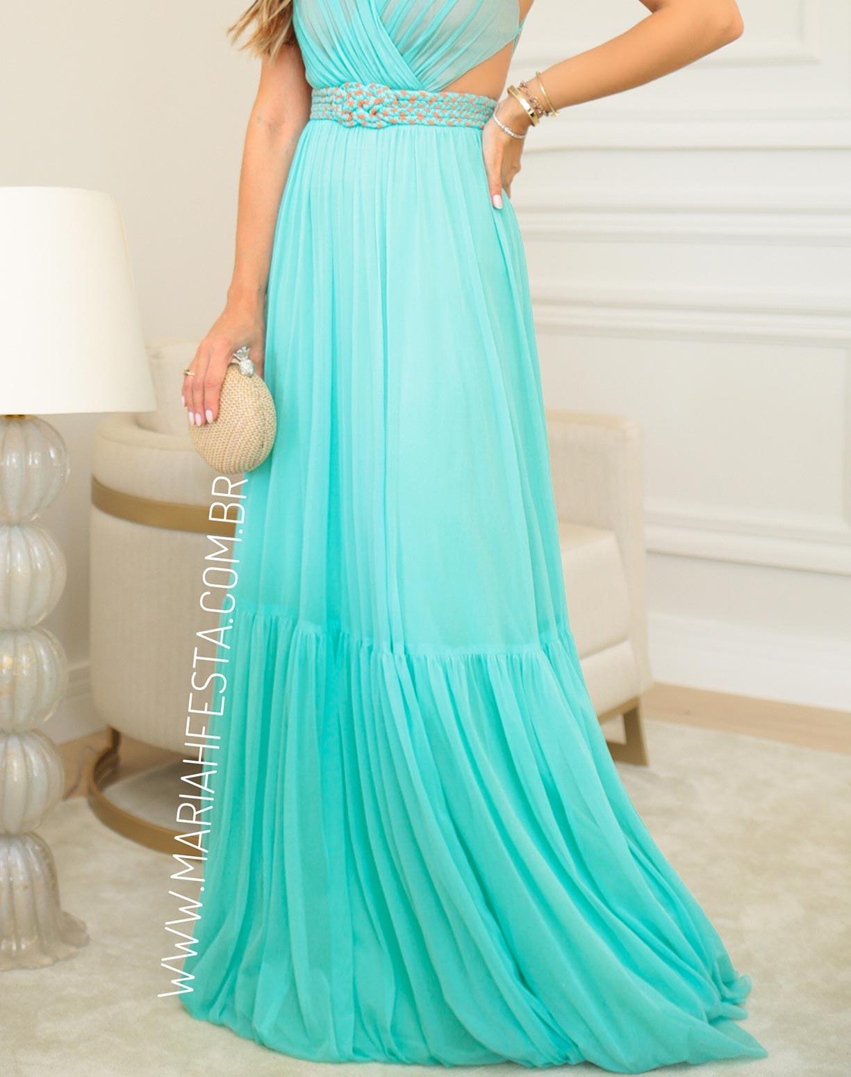 Vestido Tiffany em Tule com Cinto em Macramê
