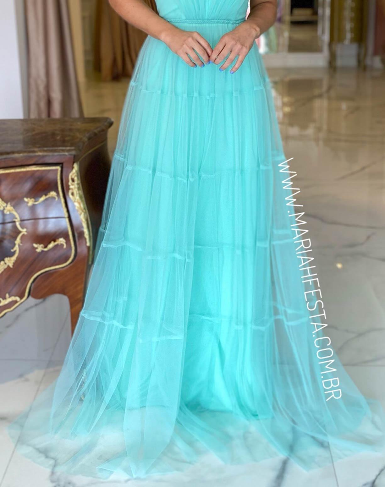 Vestido Tiffany em Tule com Saia Evasê em Camadas