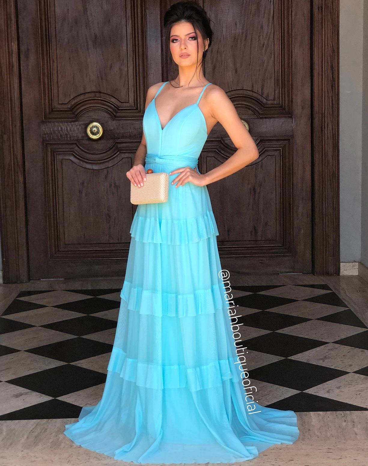 Vestido Tiffany em Tule de Camadas