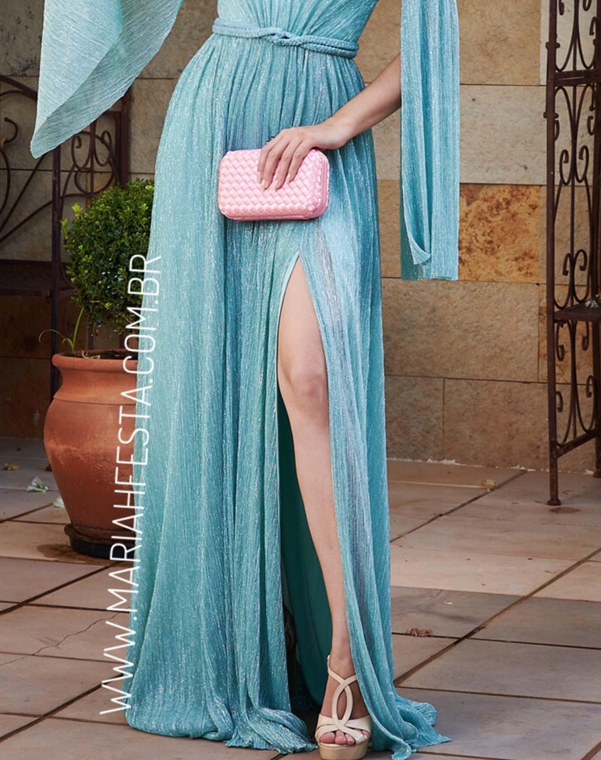 Vestido Tiffany em Tule de Lúrex com Manga Capa Removível