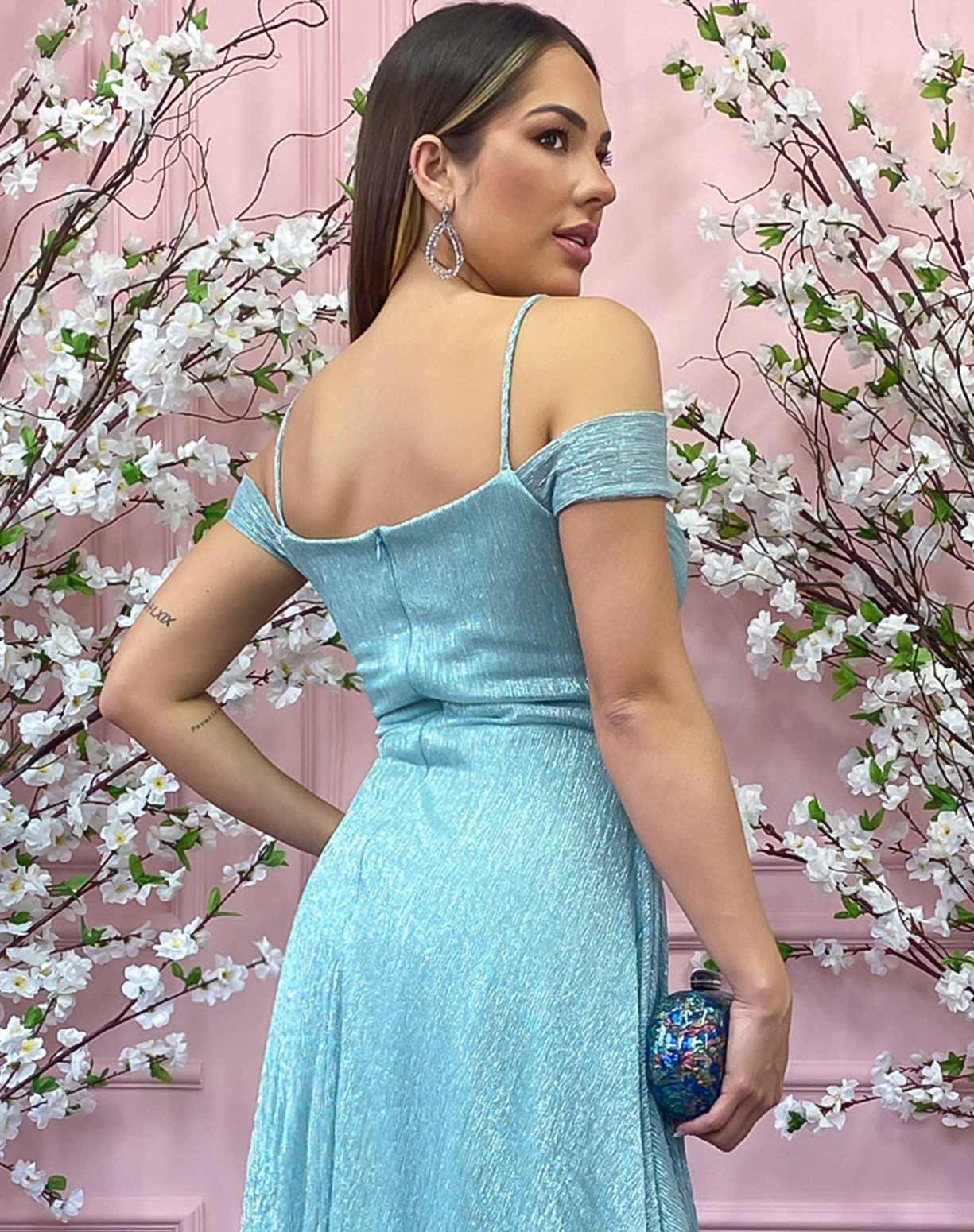 Vestido Tiffany em Tule de Lúrex com Manga Ombro a Ombro