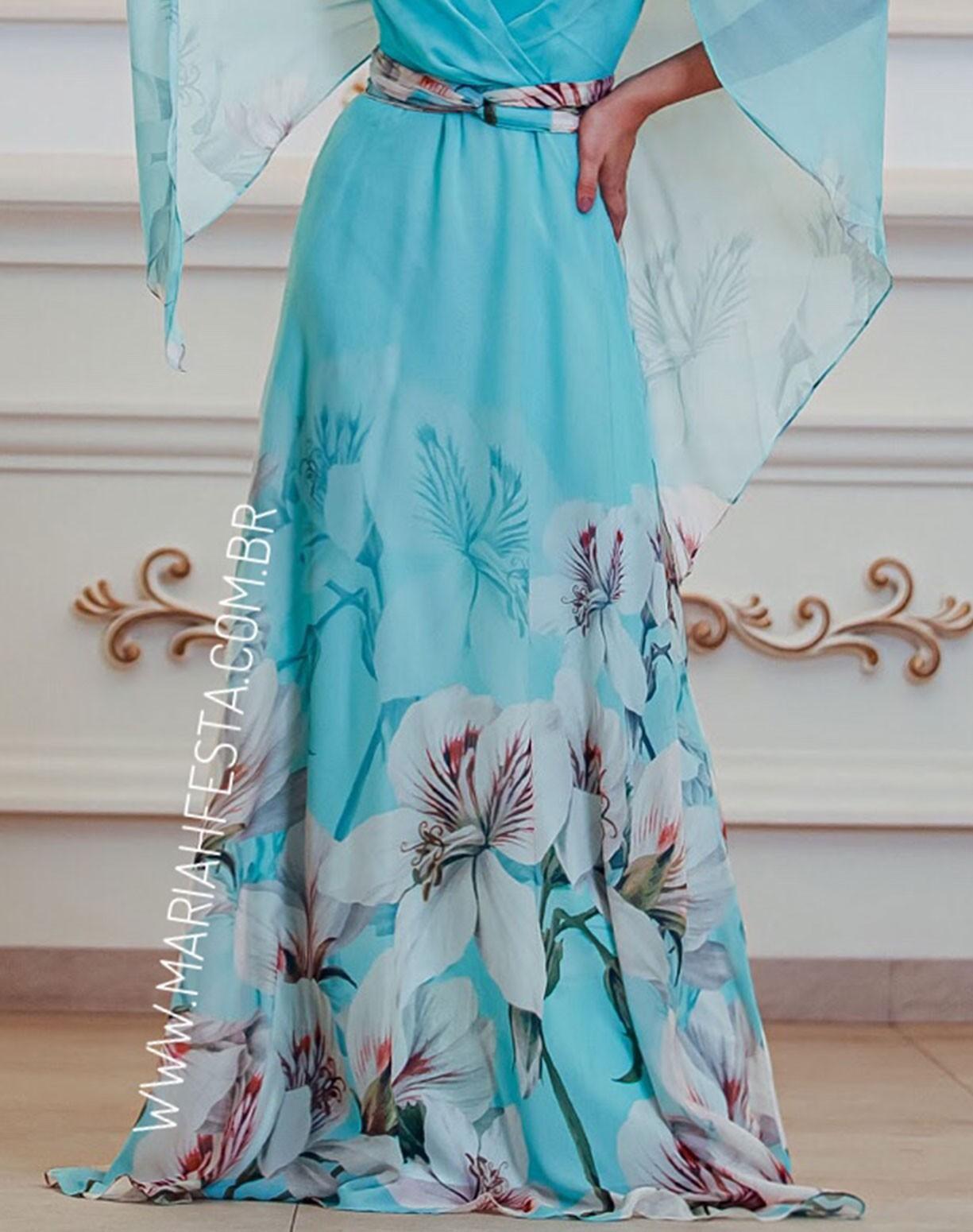 Vestido Tiffany Estampado com Manga Capa Voal