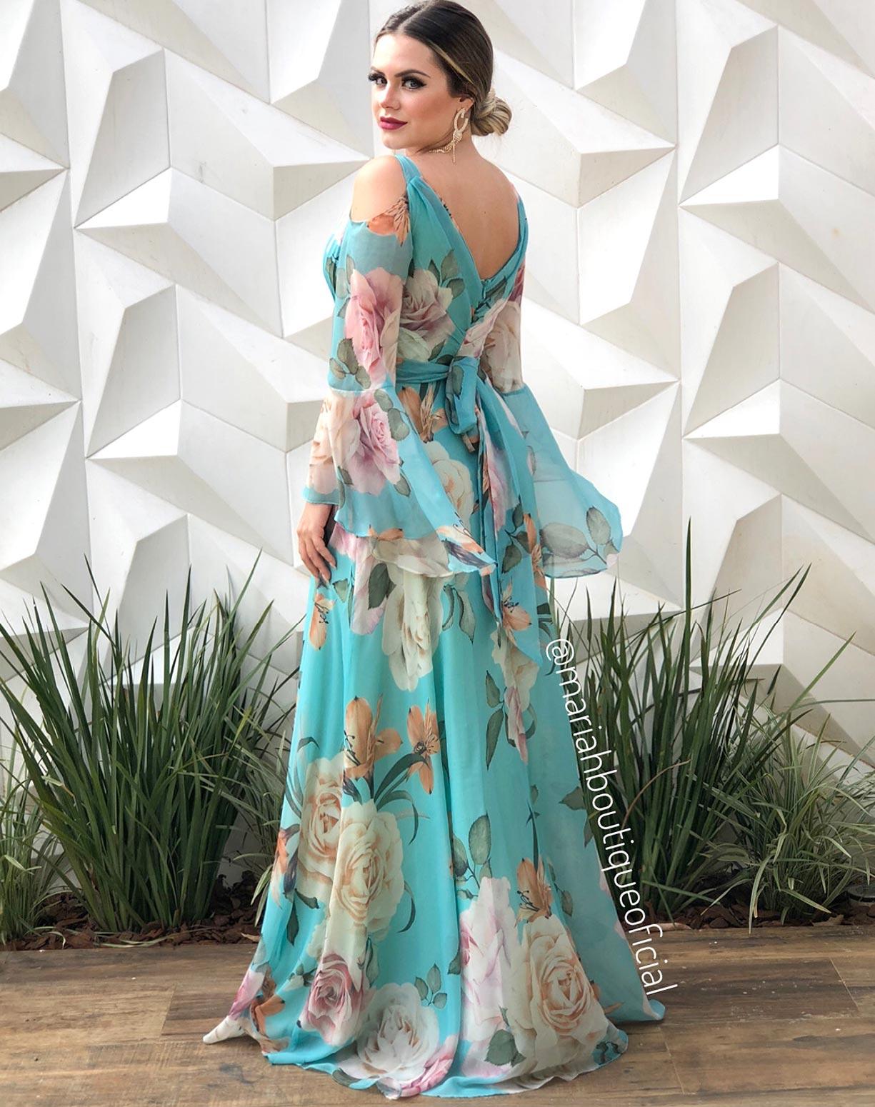 Vestido Tiffany Estampado Manga Flare
