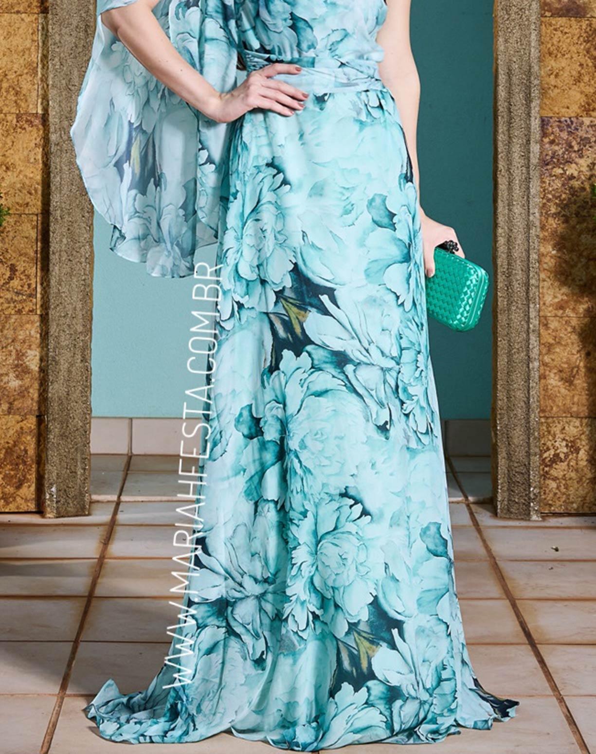 Vestido Tiffany Floral de Um Ombro Só