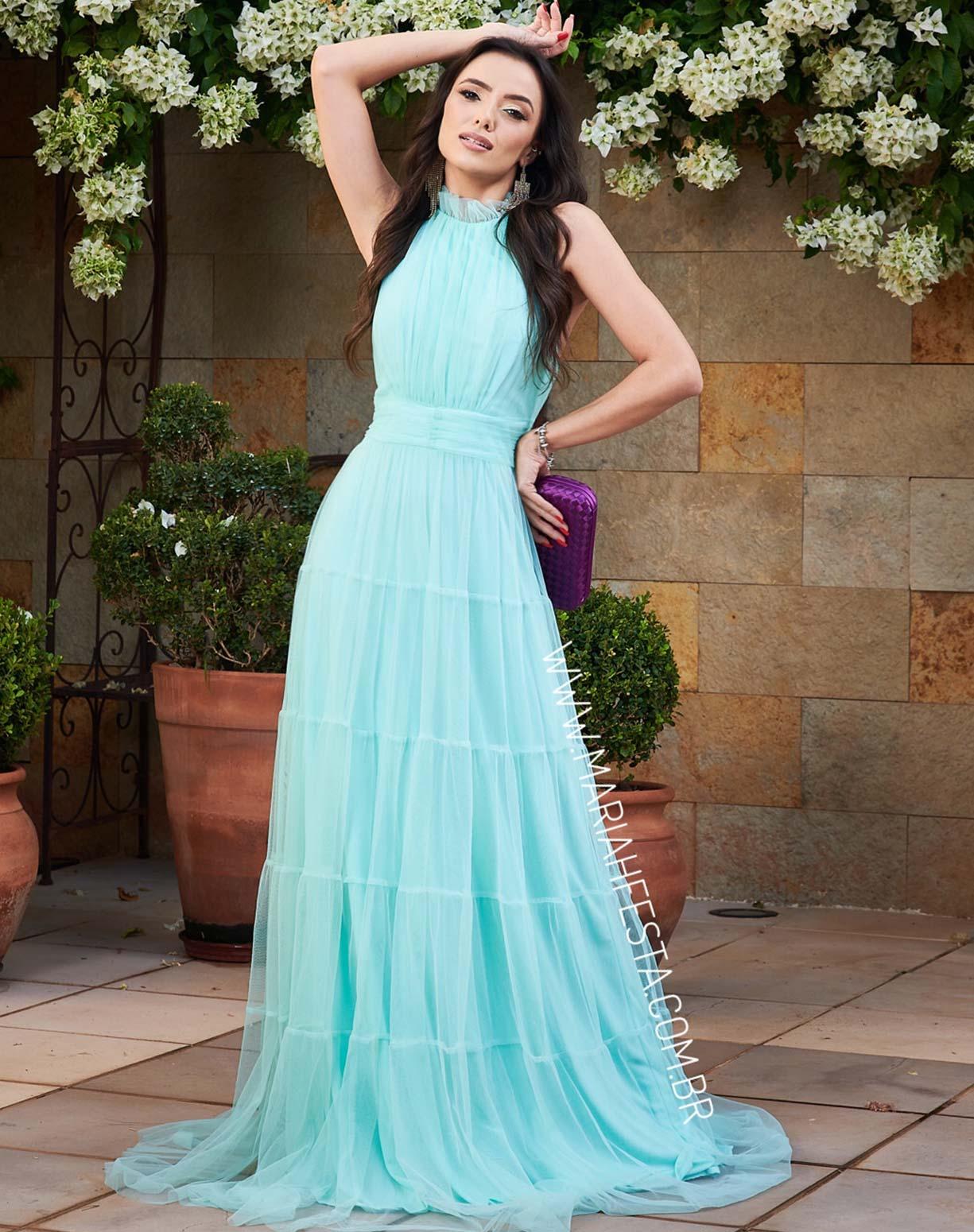 Vestido Tiffany Frente Única com Gola Jabô