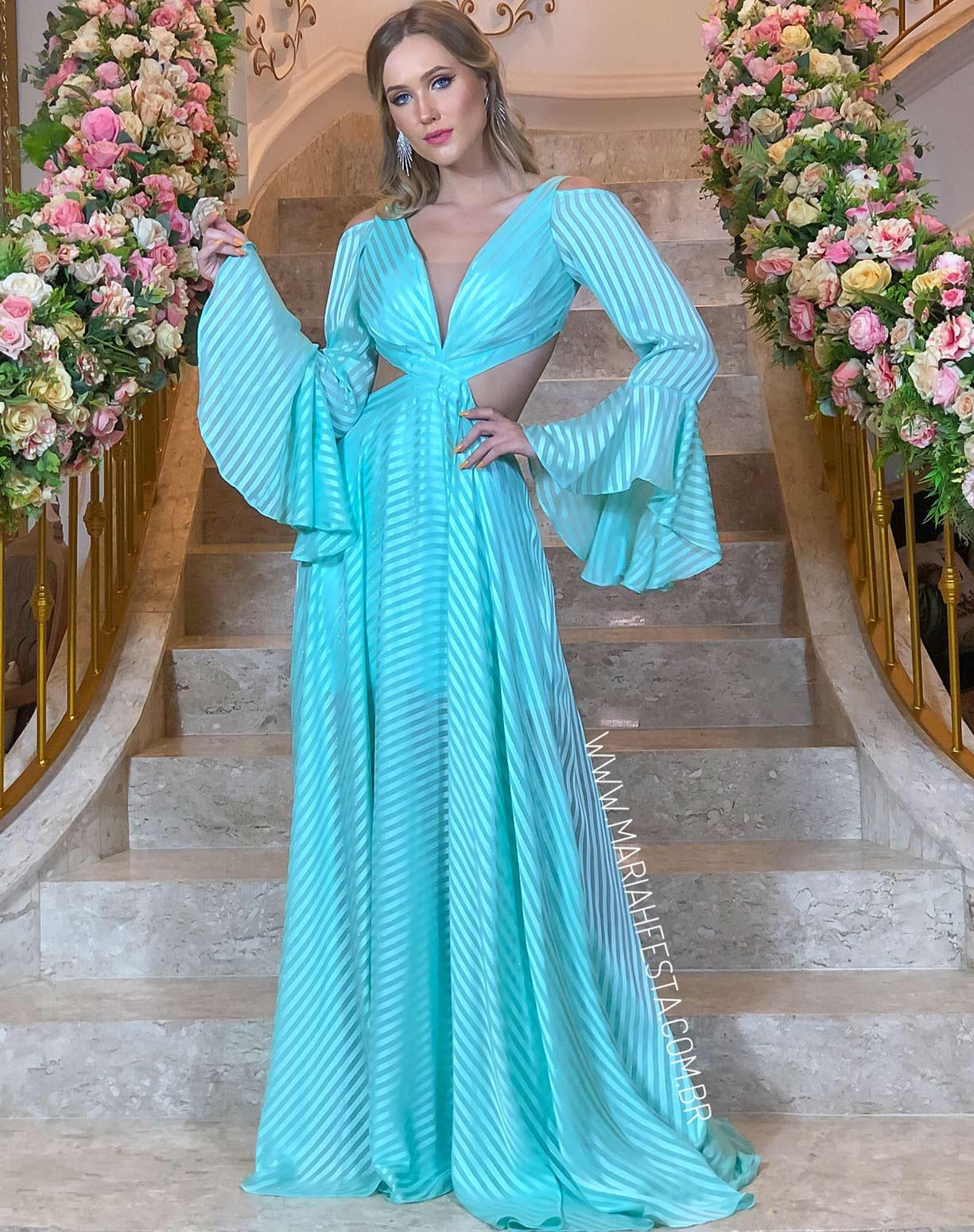 Vestido Tiffany Listas com Manga Flare e Decote