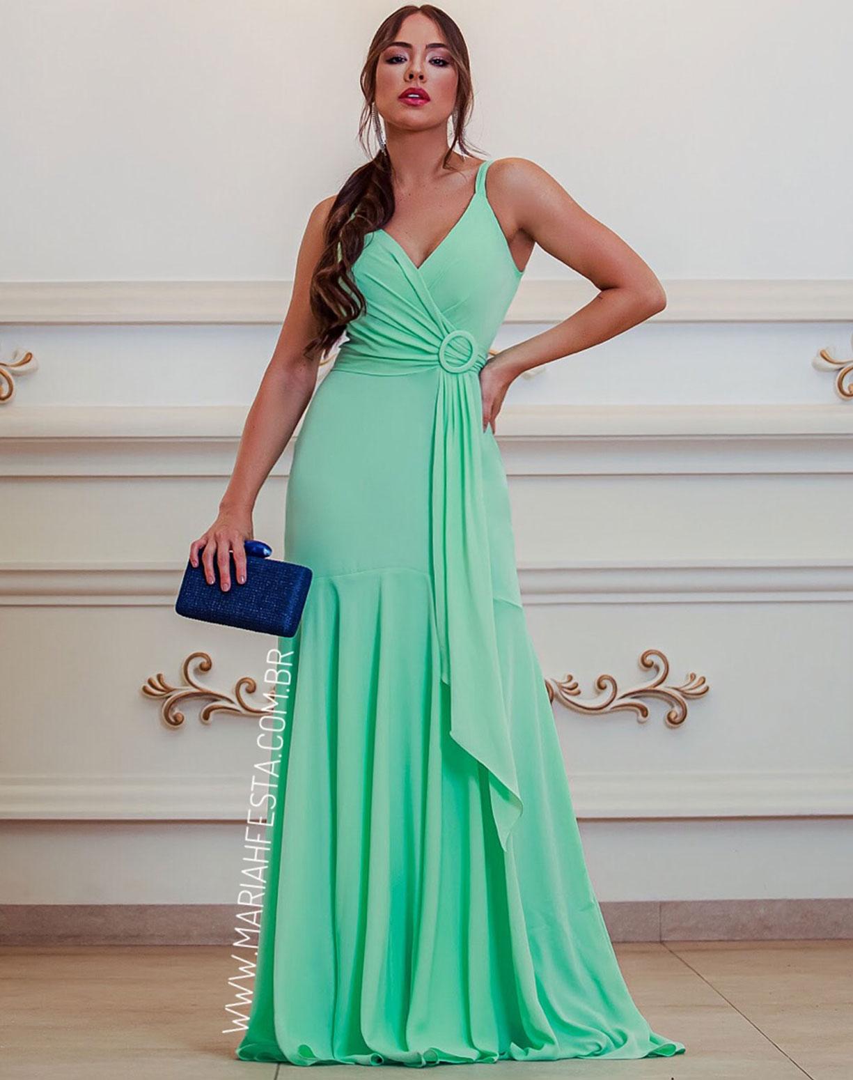 Vestido Verde Água Semi Sereia com Decote