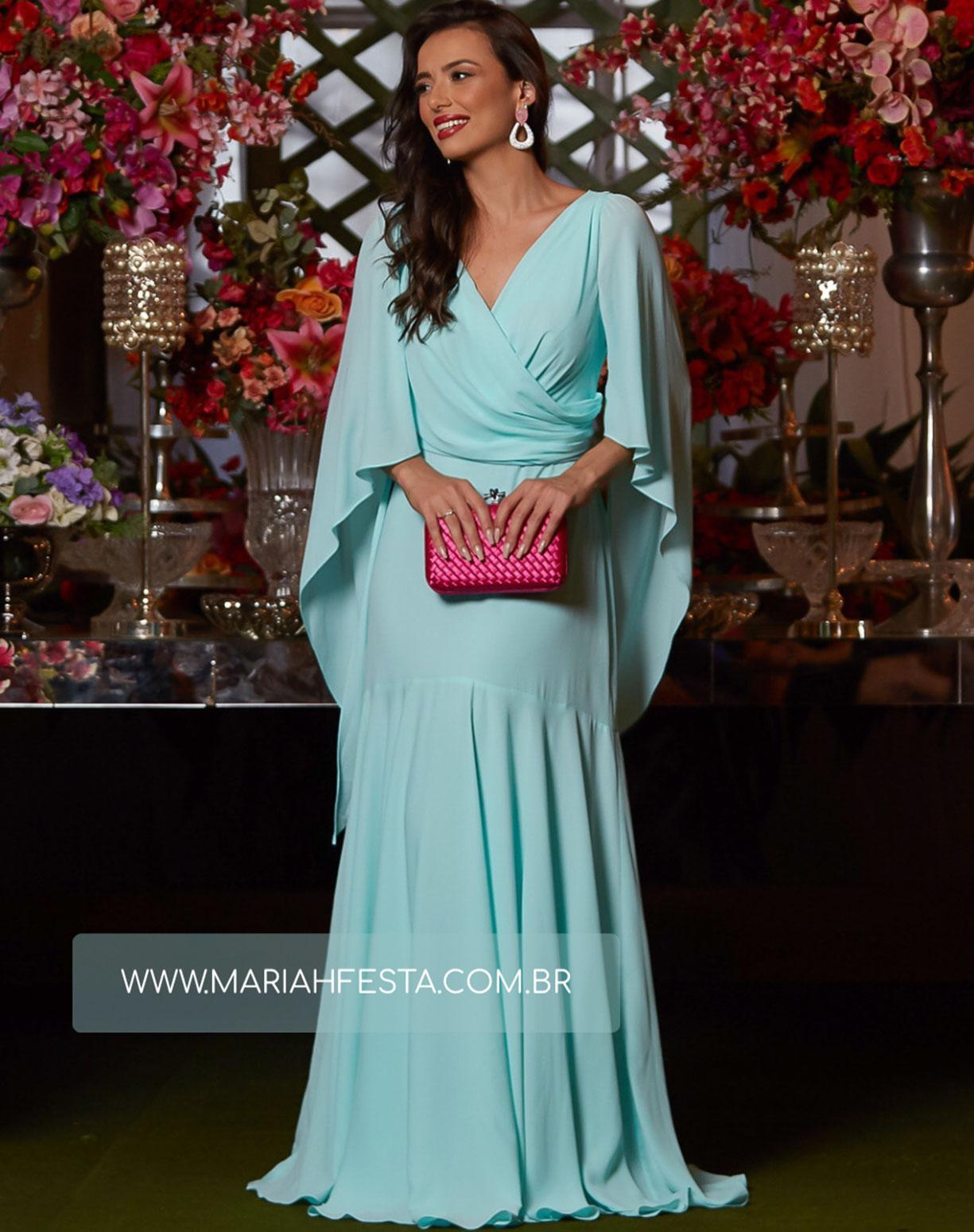 Vestido Tiffany Semi Sereia com Decote Transpassado