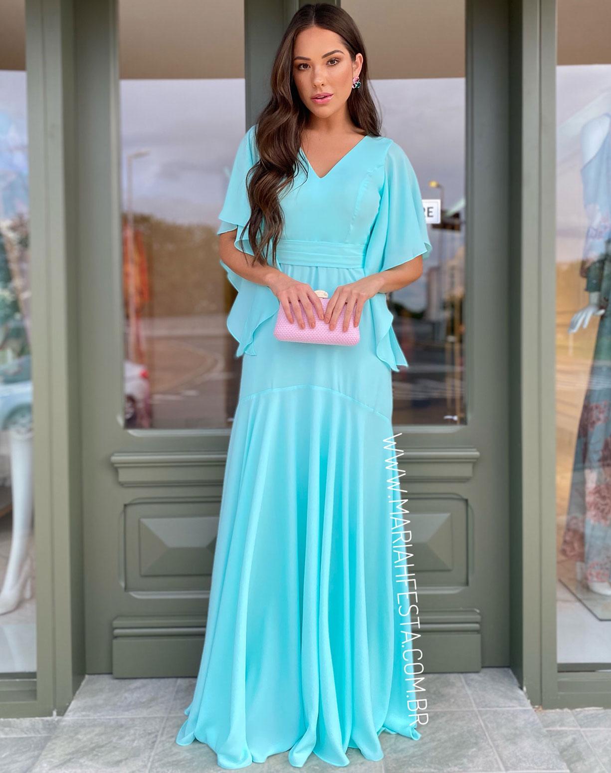 Vestido Tiffany Semi Sereia com Manga Voal