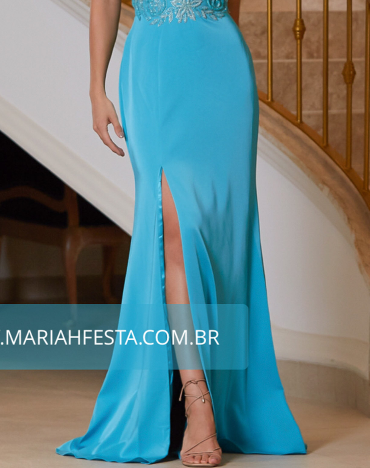 Vestido Tiffany Sereia com Bordado no Corpo