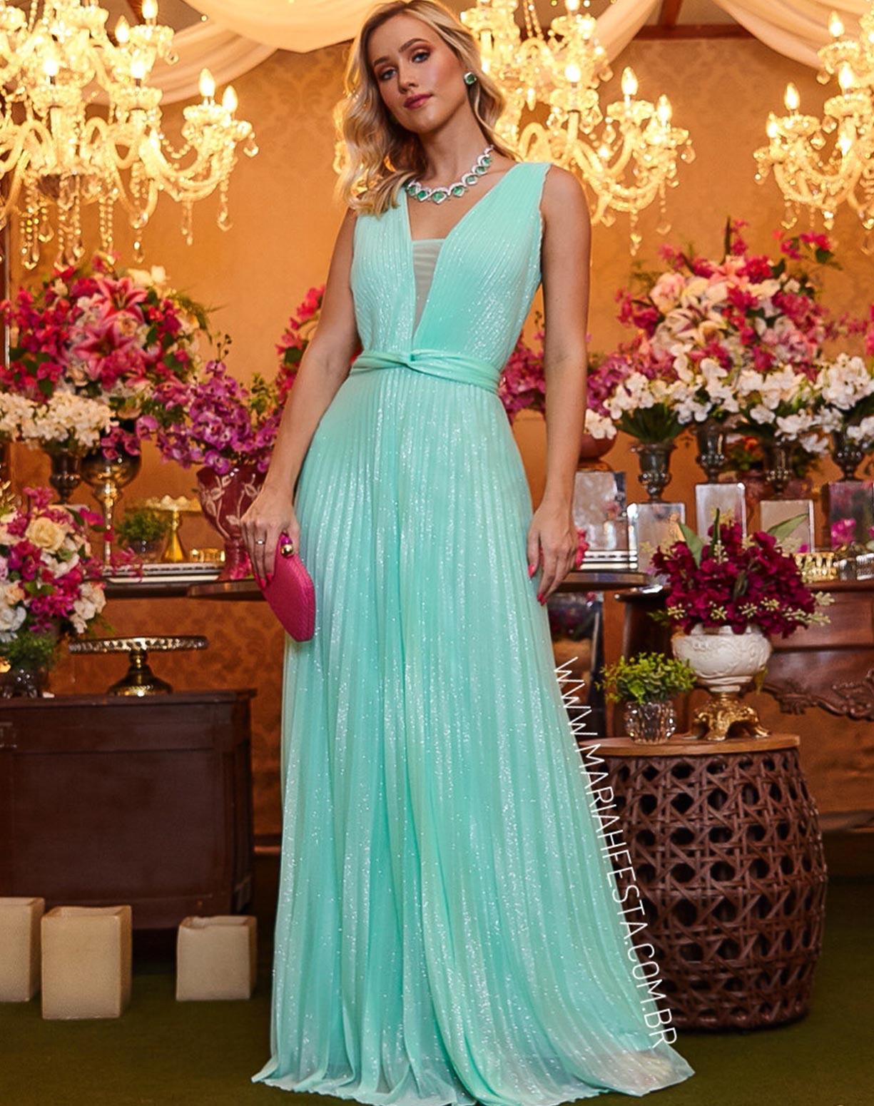 Vestido Tiffany Tule Glitter Plissado