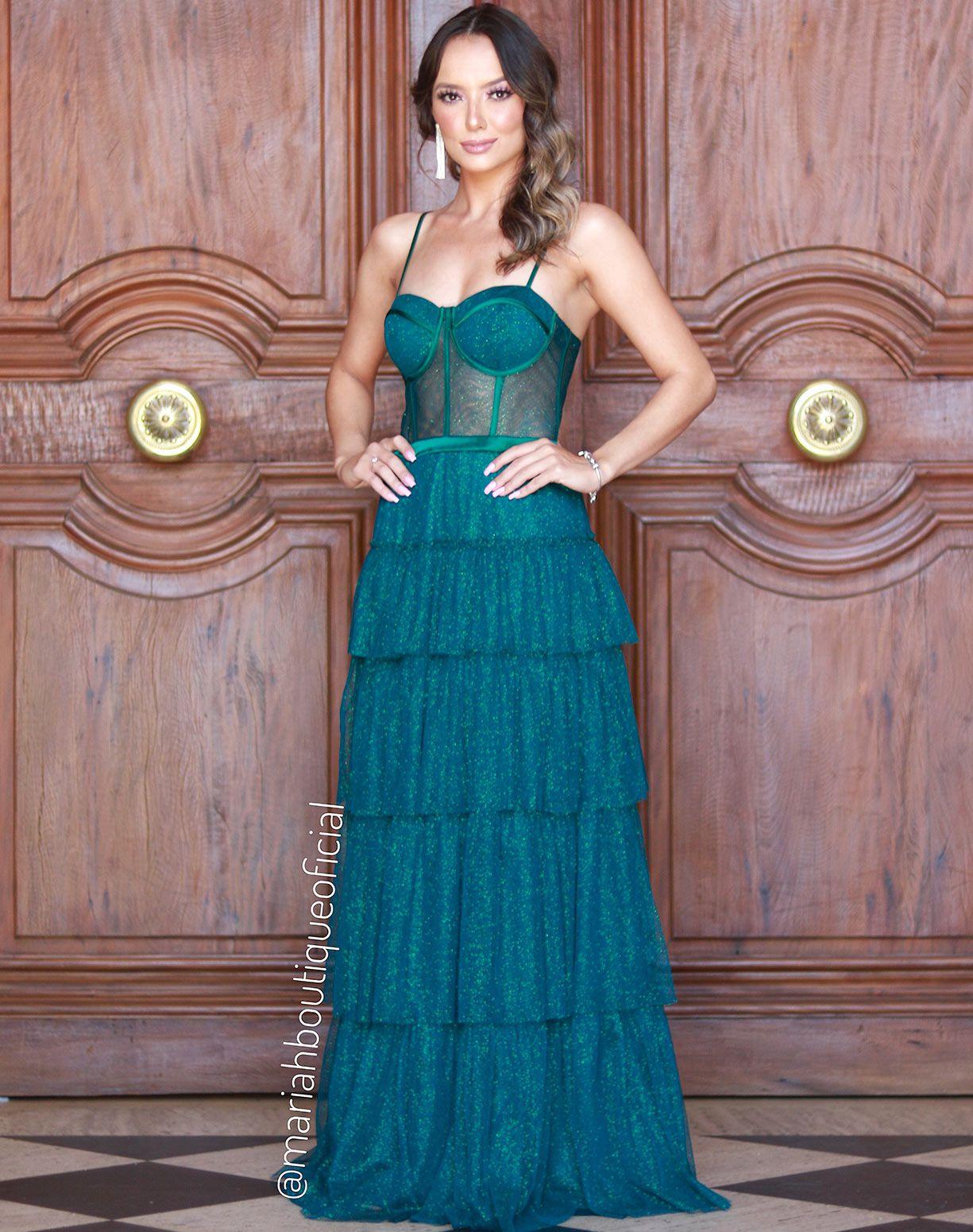 Vestido Verde Tule Glitter com Corpete