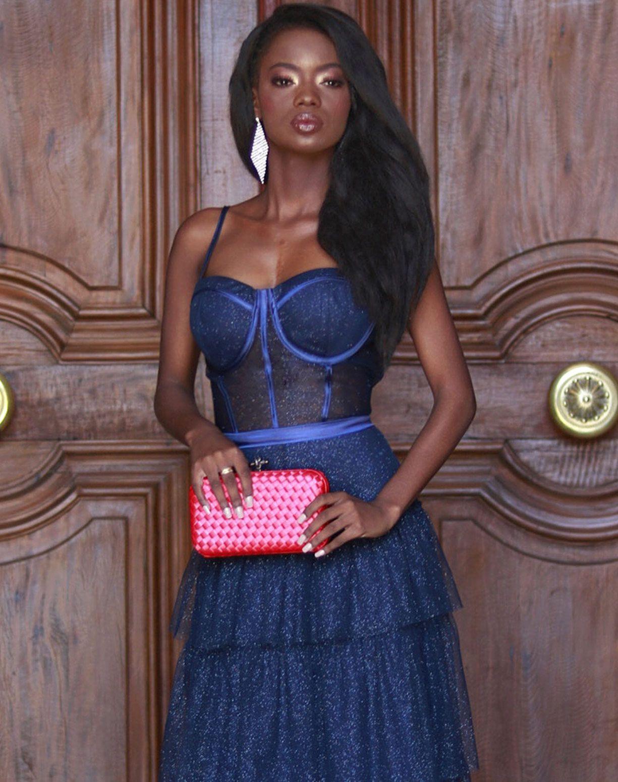 Vestido Azul Marinho Tule Glitter com Corpete