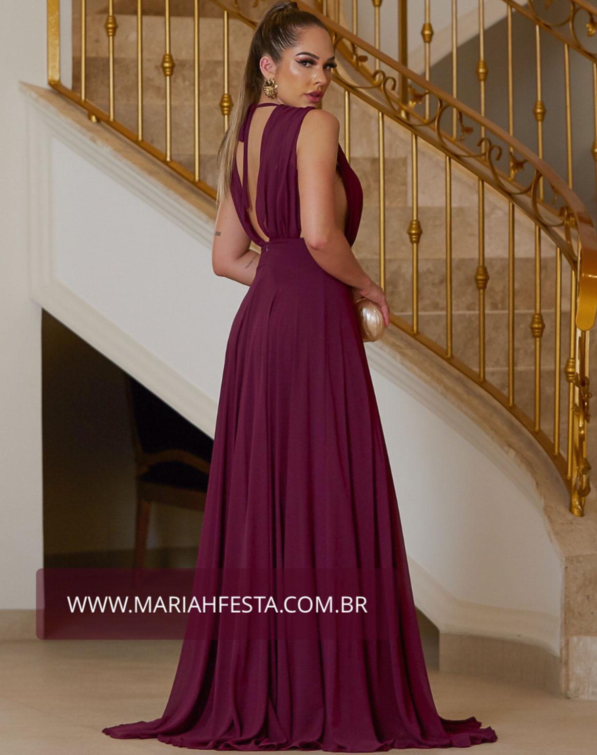 Vestido Uva com Saia Evasê