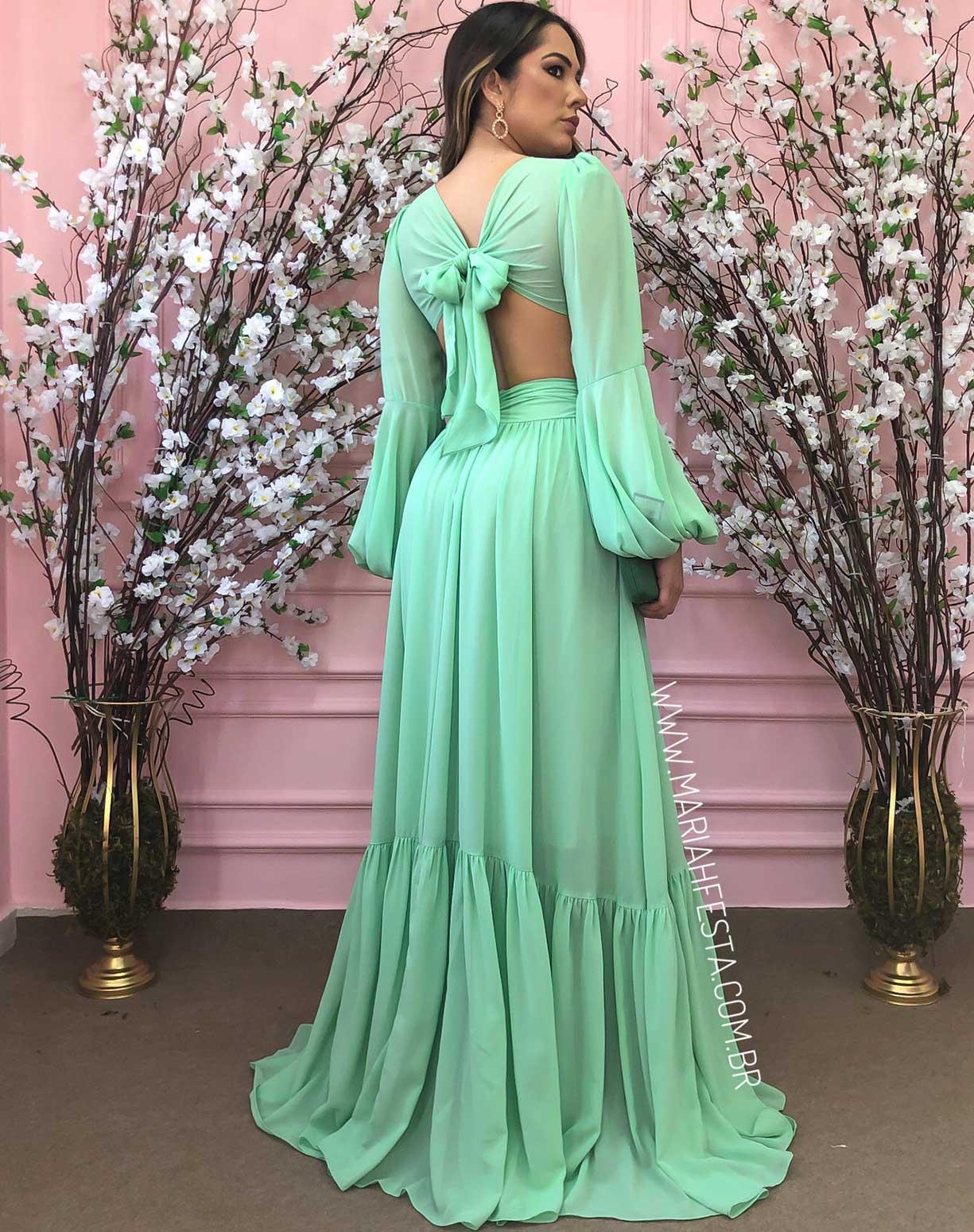 Vestido Verde Água com Decotes