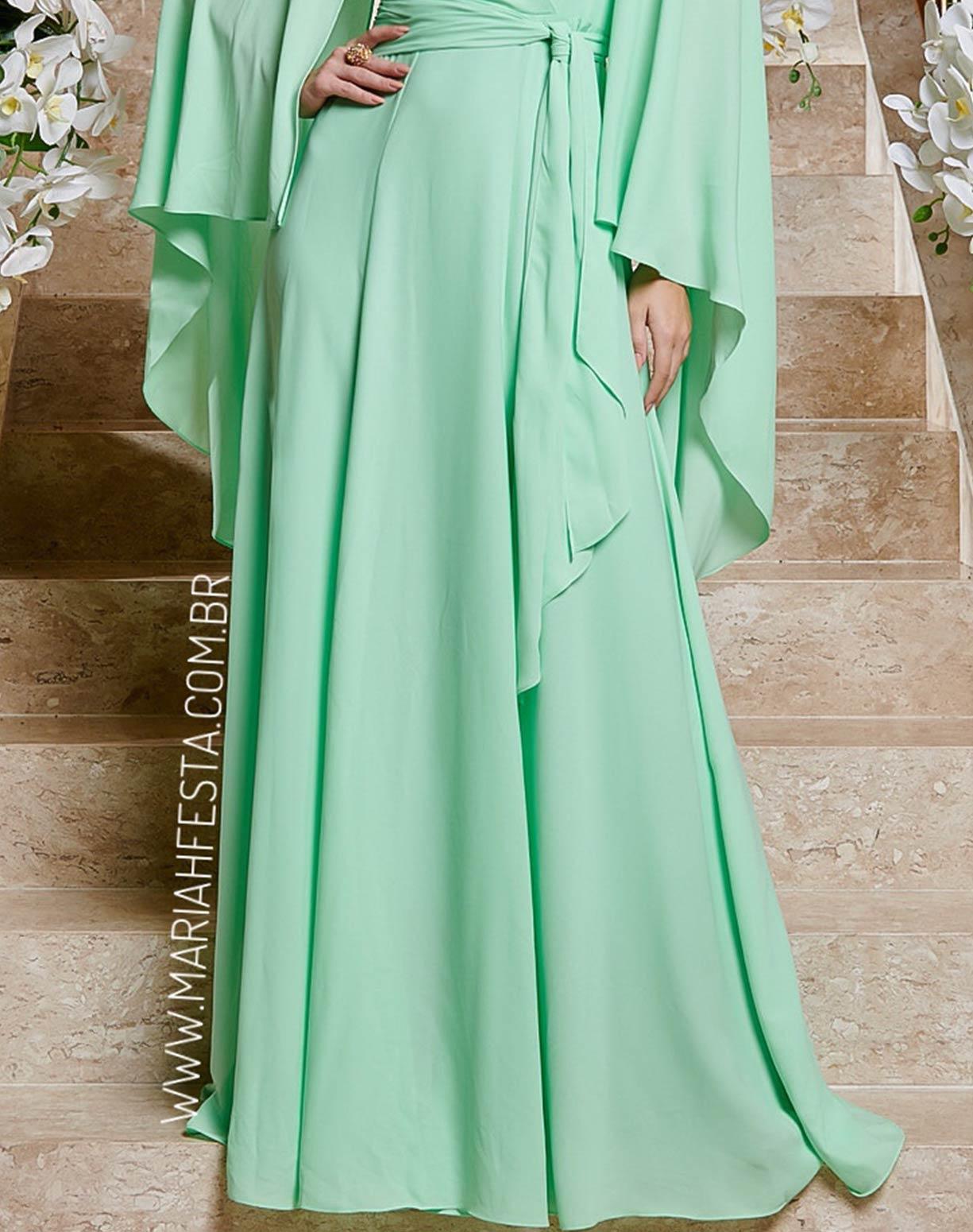 Vestido Verde Água com Manga Capa em Crepe de Seda