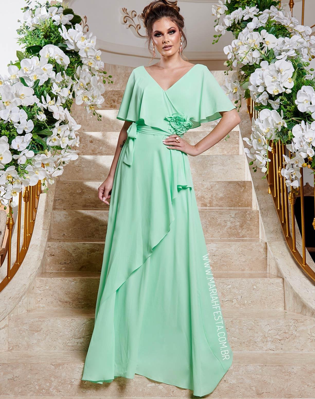 Vestido Verde Água com Manga Curta e Flores 3D