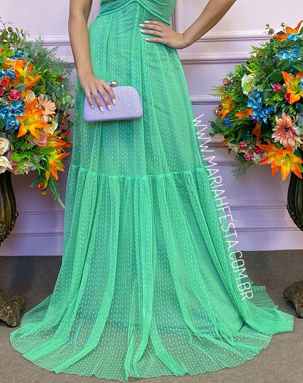 Vestido Verde Água em Tule Texturizado