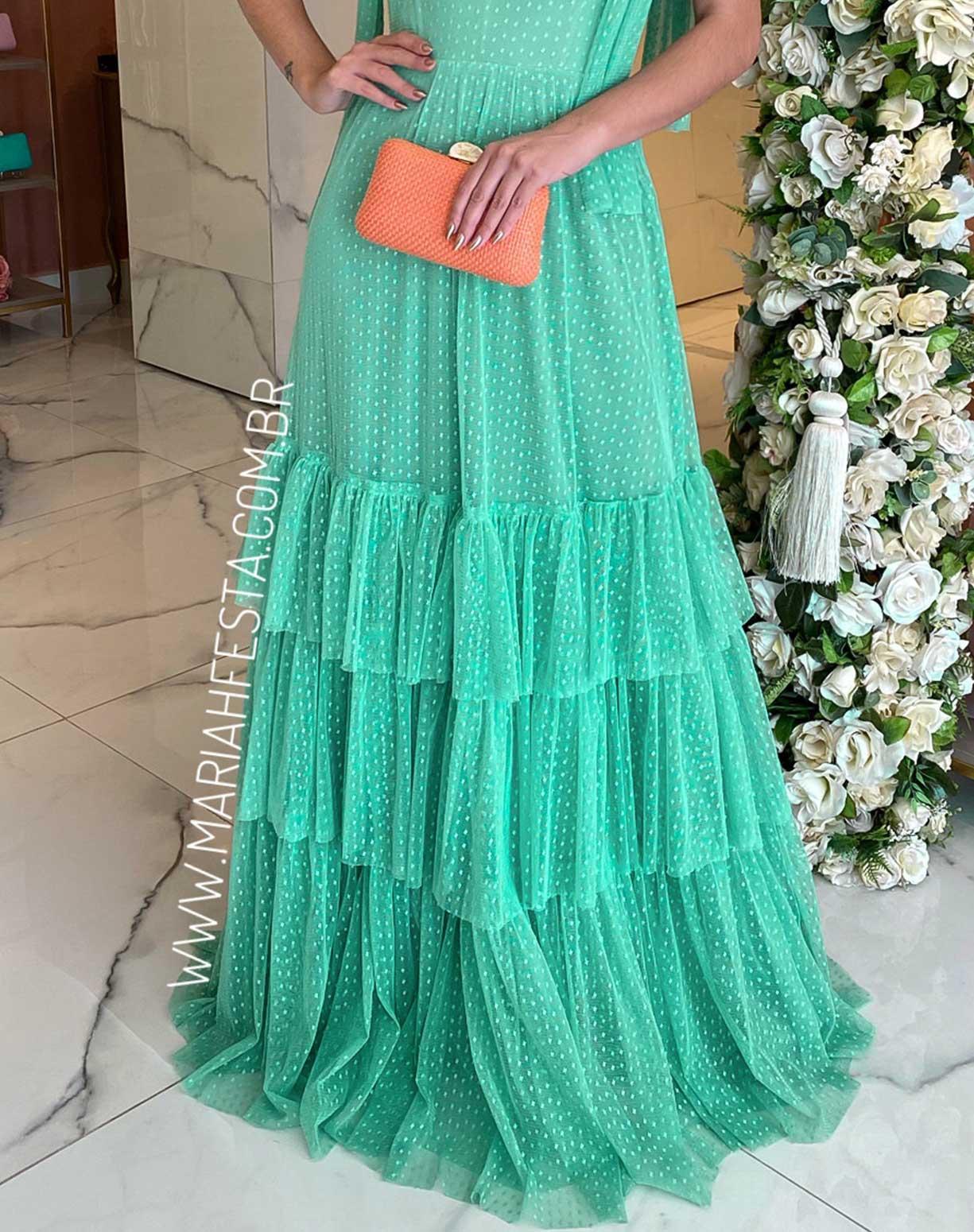 Vestido Verde Água em Tule Texturizado Com Alça de Amarrar