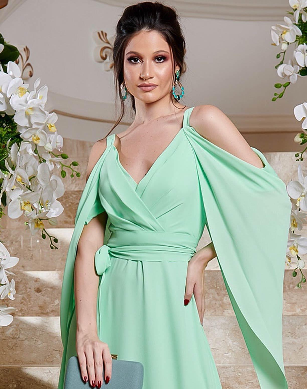 Vestido Verde Água Manga Capa Voal