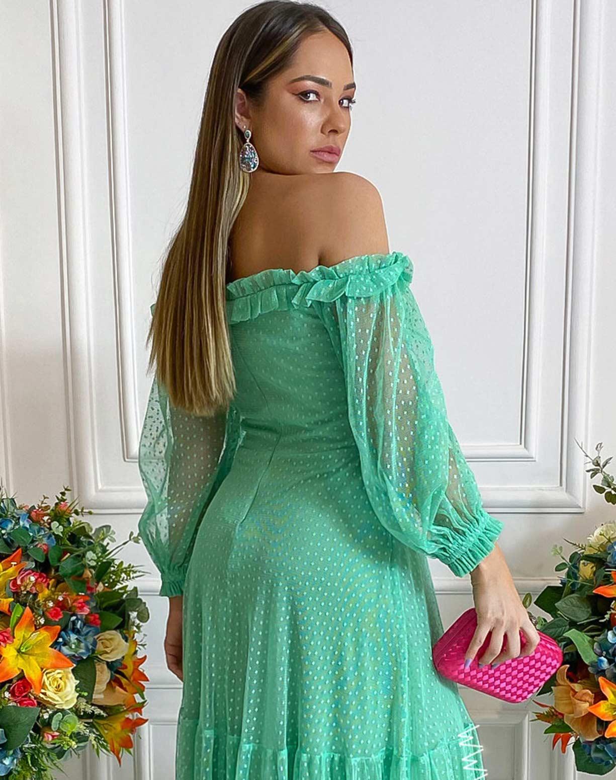 Vestido Verde Água Ombro a Ombro em Tule Texturizado