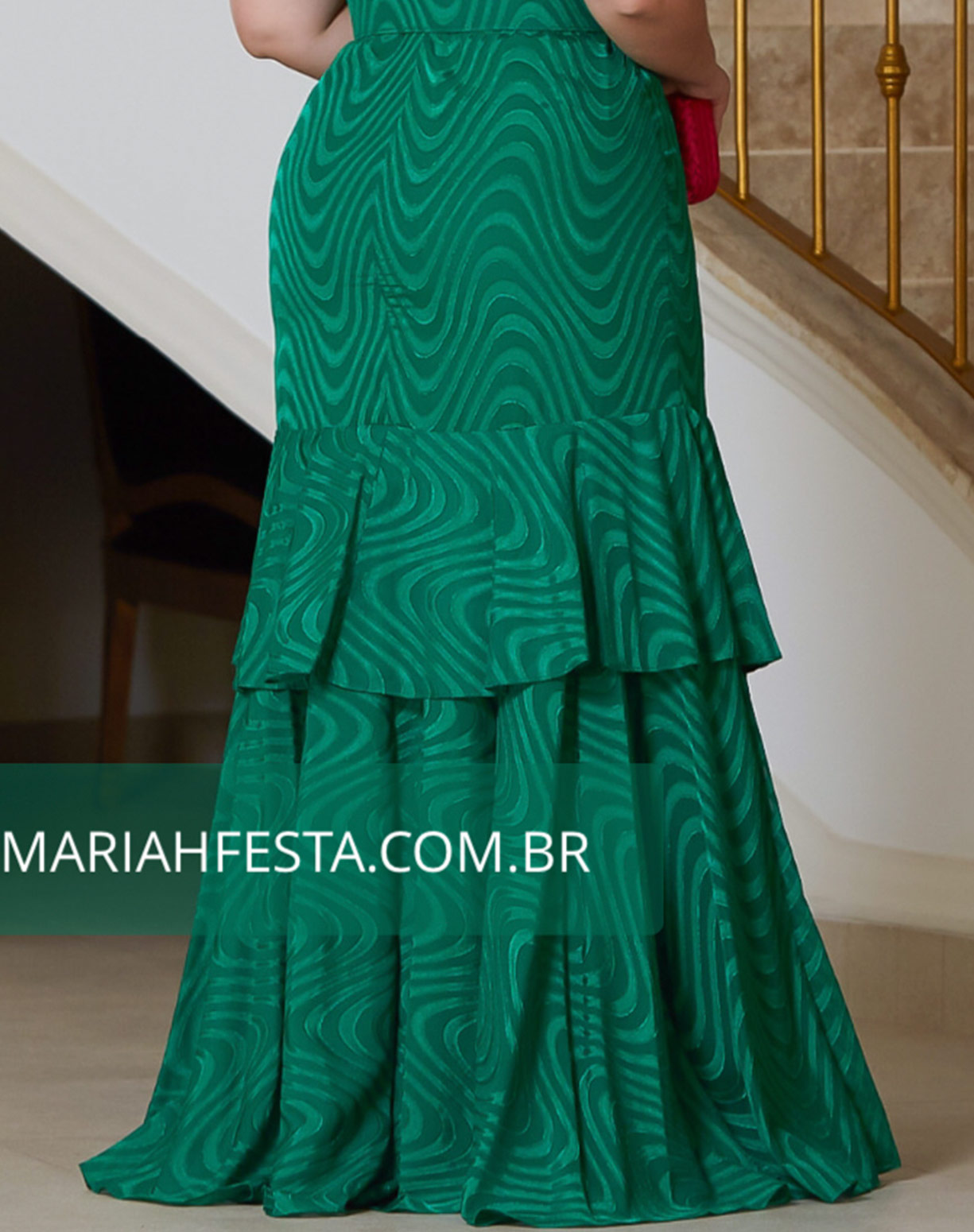 Vestido Verde Bandeira em Musseline Texturizado