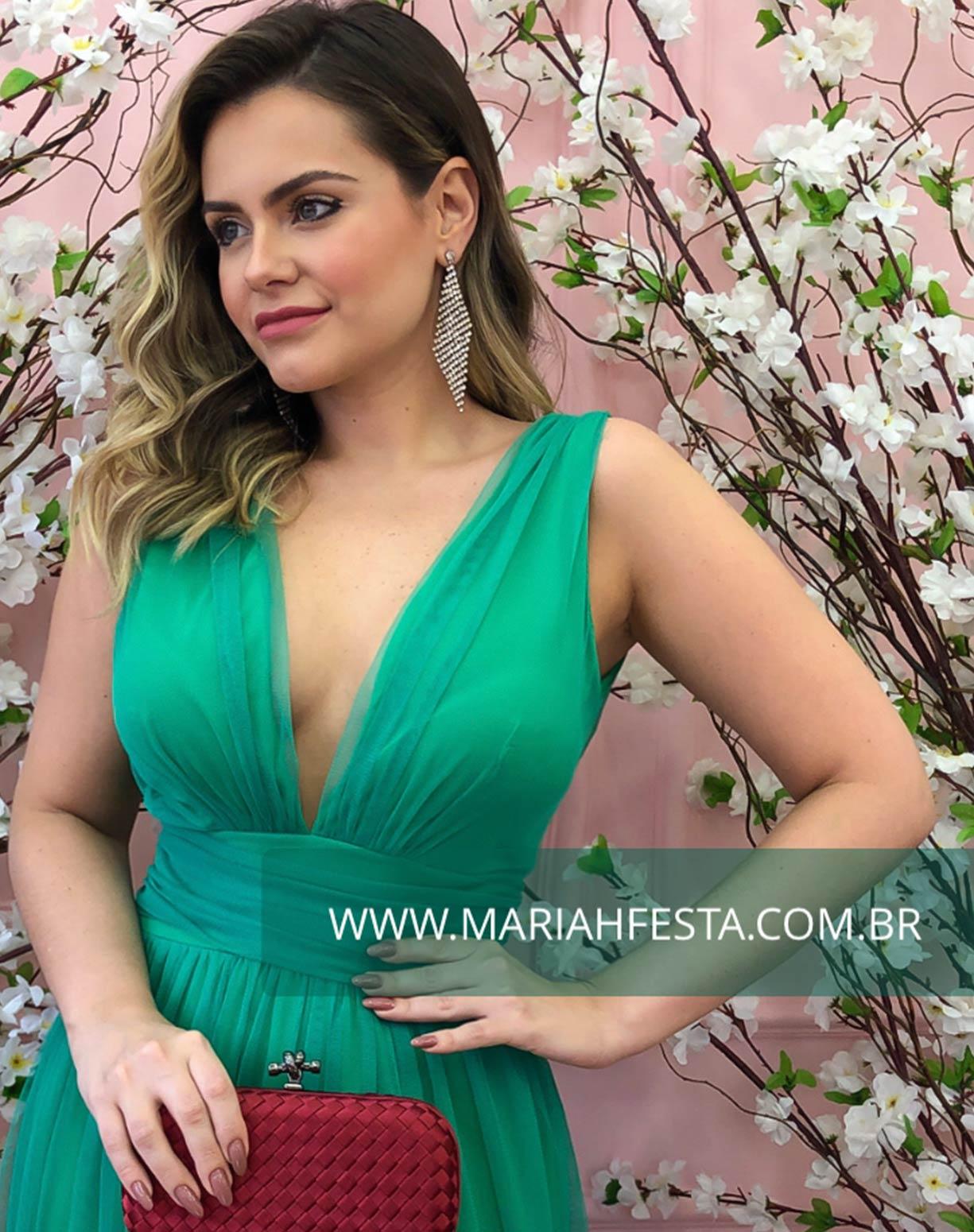 Vestido Verde Bandeira  em Tule de Saia Evasê com Fenda