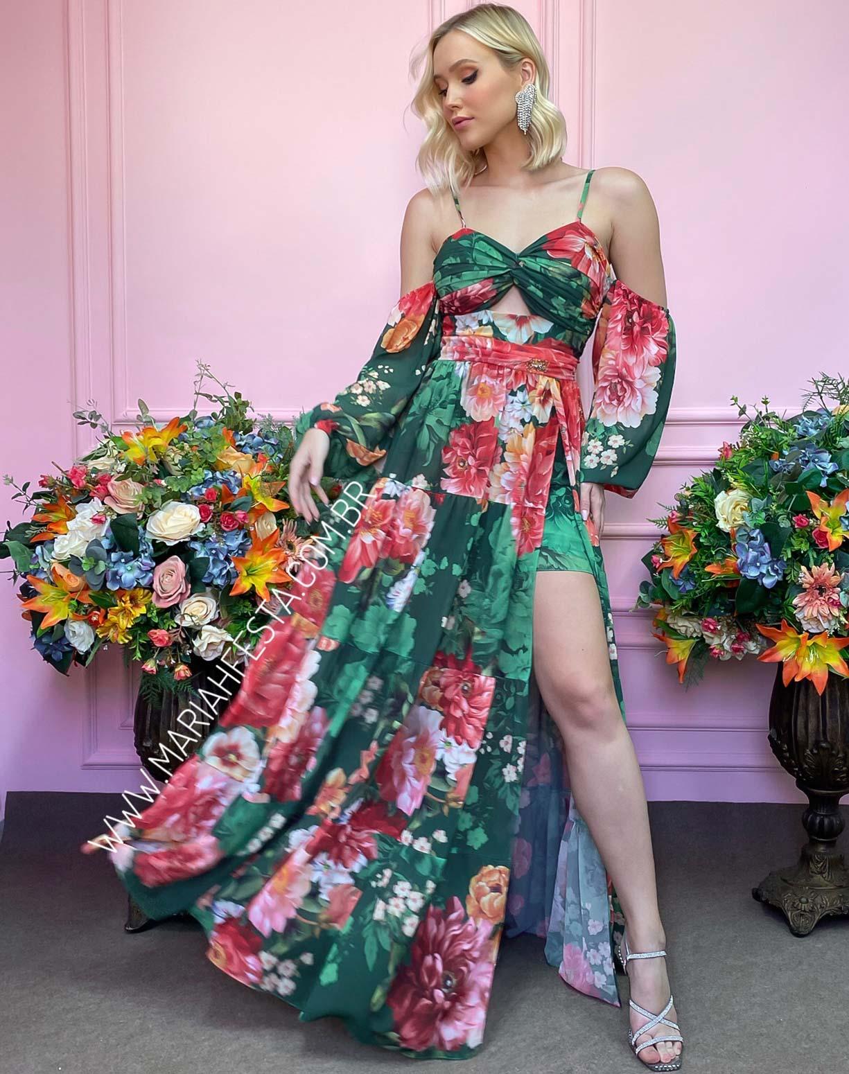 Vestido Verde Bandeira com Estampa Floral e Fenda